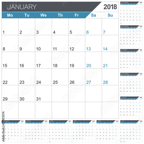 Calendar 2018 English Template For Year Set Of 12 Months Week
