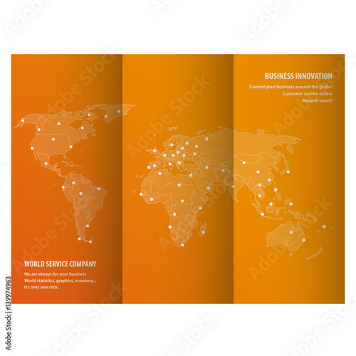 Fotografía World map triptych for international business