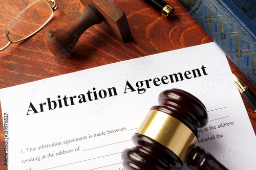 Arbitration agreement form on an office table. Canvas Print