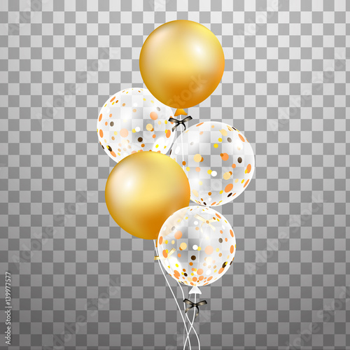 Set Of Gold White Transparent Helium Balloon Isolated In The Air Frosted Party Balloons For Event Design Decorations Birthday Anniversary