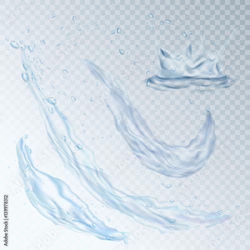 Water design element drops splash wave vector illustration Fototapete