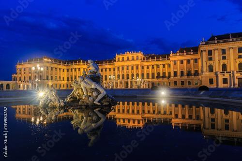Schonbrunn Palace on twillight scene in Vienna