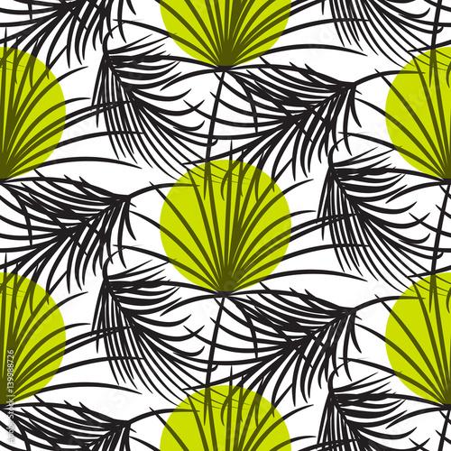 Obrazy wieloczęściowe szare liście palmy i zielone kropki na białym tle