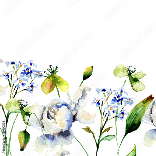 Fototapety, obrazy: Template for card with decorative wild flowers