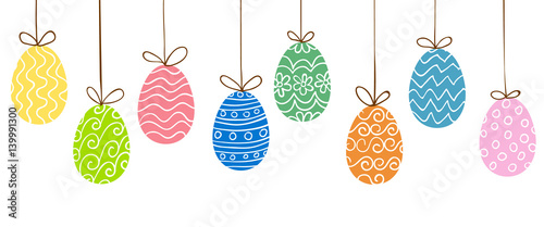 Easter eggs hanging Canvas Print