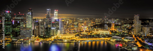 Photo sur Toile Gris traffic Singapore Skyline and view of Marina Bay