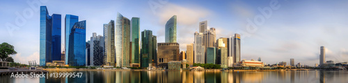 Photo Stands Water lilies Singapore Skyline and view of Marina Bay