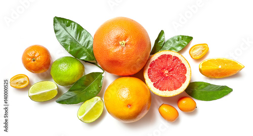 Fényképezés various citrus fruits on white background