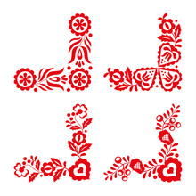 Set Of Four Traditional Folk Ornaments, Red Embroidery Isolated On A White Background, Folk Decorative Pattern, Vector Illustration