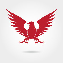 Red Eagle Heraldic Style Silhouette. Vector Eagle Logo Design