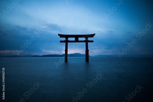 Spoed Fotobehang Japan silhouette Shirahige shrine at Biwa lake,Shiga,tourism of japan