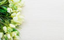 Spring Tulips Lying On White W...