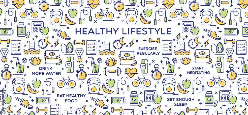 Fototapety, obrazy: Healthy lifestyle vector illustration, dieting, fitness and nutrition.