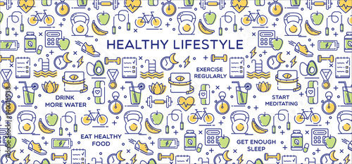 Fotografia  Healthy lifestyle vector illustration, dieting, fitness and nutrition