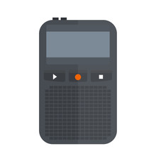 Tape Recorder Or Dictaphone Icon Isolated On White Vector Illustration Microphone Voice Audio Sound Equipment Electronic Device Pocket Media Interview