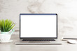 canvas print picture - laptop computer white blank screen on work table front view