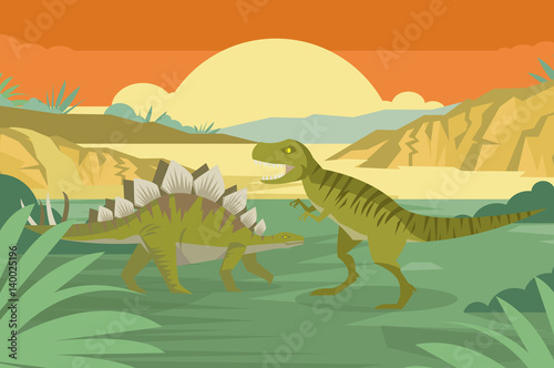 Photo  stegosaurus and tyrannosaurus rex in the wild jungle