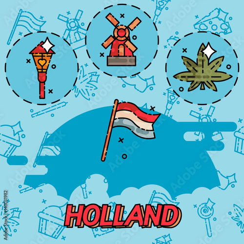 Photo  Holland flat concept icons