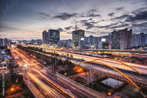 Fotobehang Nacht snelweg Night view of Gyeongbu Expressway