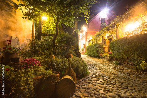 Stone alley in the old city of Sighisoara, Romania