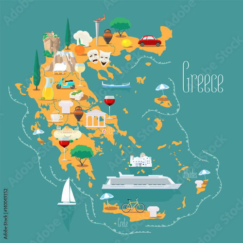 Canvas Print Map of Greece with islands vector illustration, design