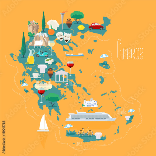 Map of Greece with islands vector illustration, design element Canvas Print