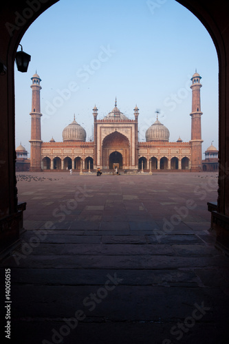 Jama Masjid Delhi Main Mosque Seen thu Arch with Nobody Present in India