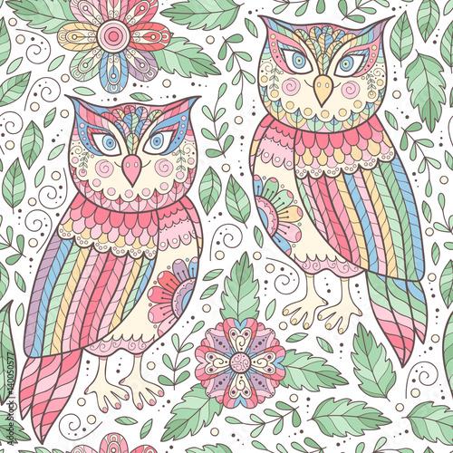 Fototapeta Owl seamless pattern with flowers