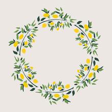Lemon Wreath. Vector. Isolated.