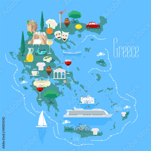 Cuadros en Lienzo  Map of Greece with islands vector illustration, design element