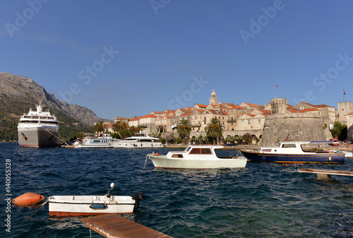 Fotografie, Obraz  View of Korcula old town on Korcula island at Adriatic sea, Croatia