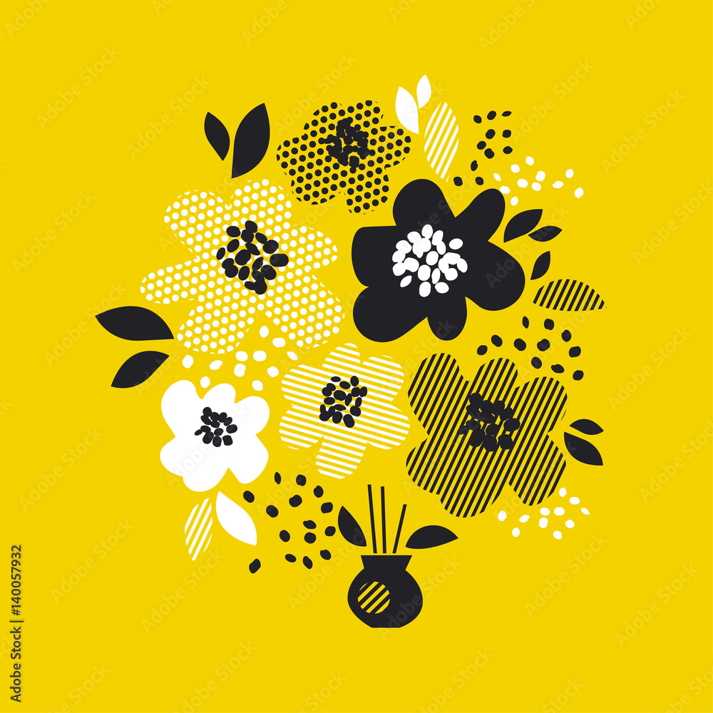 Fototapeta contemporary spring floral design  with yellow abstract flowers. modern geometry vector illustration. stylish surface design for cards, poster, web banners, header and book cover
