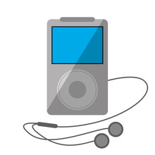 Mp3 Player Headphones Shadow Vector Illustration Eps 10