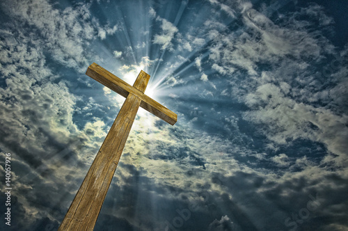 Tablou Canvas Cross against the sky. Happy Easter. Christian symbol