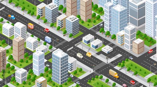 Izometryczny 3D ilustracja miasto obszar miejski z dużą ilością domów i drapaczy chmur, ulic, drzew i pojazdów