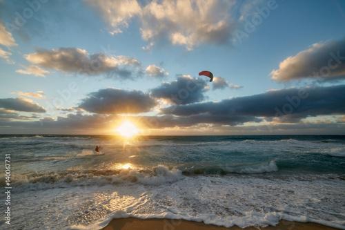 Spoed Foto op Canvas Noordzee kite surfer II