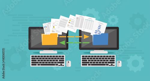 Fotografie, Obraz  Copy File, Data Exchange. Transfer file concept