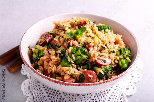 Broccoli, sausage and rice casserole