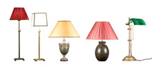 Five Decorative Table Lamps Isolated On White Background