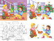 Cinderella. Fairy tale. Illustration for children. Funny cartoon characters