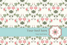Vector Card. Vintage Pattern In Modern Style. Aquilegia Plants Contain Flowers, Buds And Leaves. Place For Your Text. Perfect For Invitations, Announcement Or Greetings.