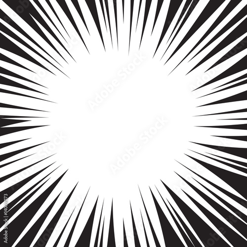 Comic book black and white radial lines background. Manga speed ...