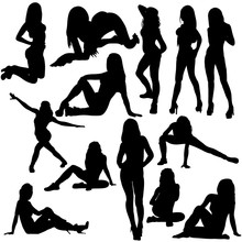 Vector, Isolated, Silhouette Girl Sexy Posing, Collection