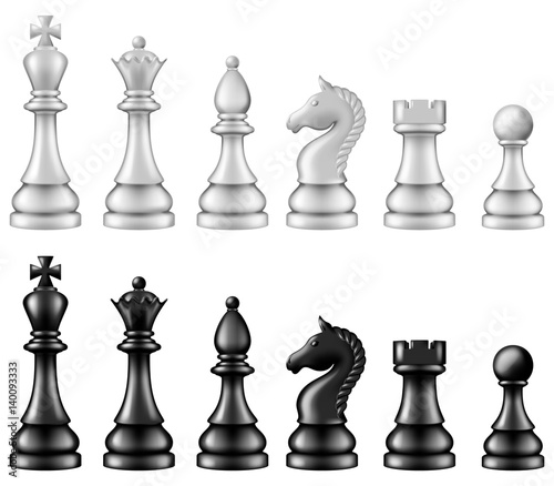 Chess pieces set, two versions - white and black Wallpaper Mural