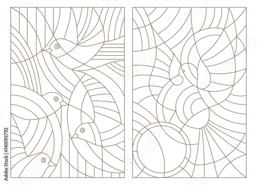 Fototapeta  Set contour illustrations of stained glass with birds