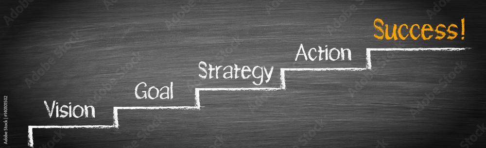 Fototapeta Success Ladder - vision, goal, strategy, action, success - business concept