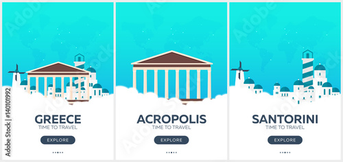 Greece. Time to travel. Set of Travel posters. Vector flat illustration.