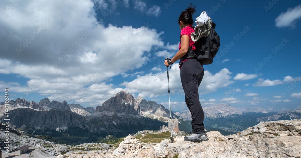 Obraz Trekking at Nuvolau mountain fototapeta, plakat