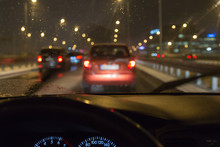 Driving A Car In A Bad Weather, In Traffic Jam