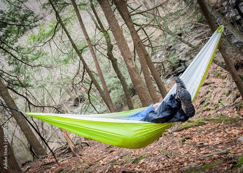 Fotografie, Obraz  Hiker Hanging In A Hammock